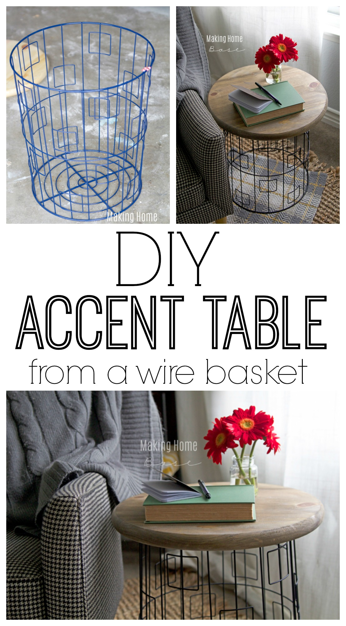 DIY Accent Table From A Wire Laundry Basket