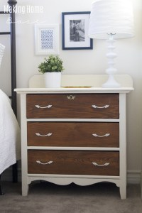 Two Toned Nightstand: White and Wood