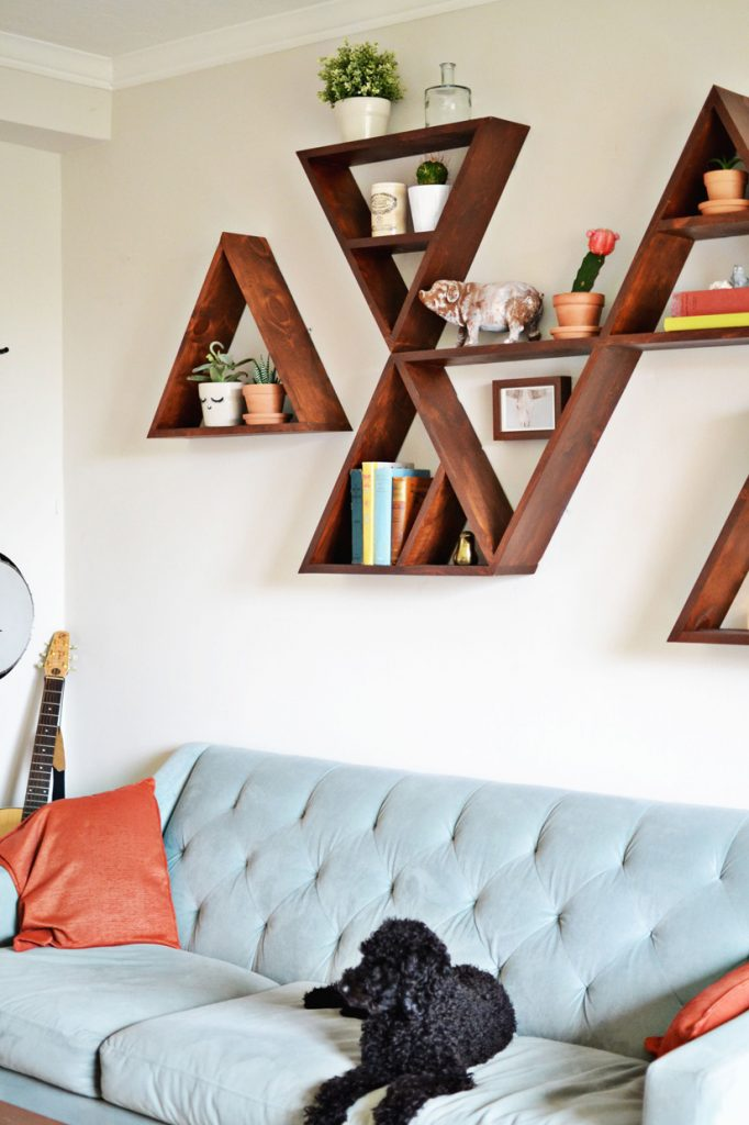 diy shelves in living room leather furniture decorating 18 shelving ideas triangle