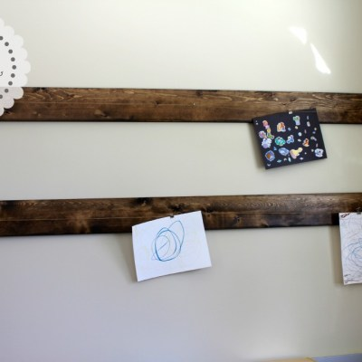 Our first DIY project – a Rustic Art Display Hanger