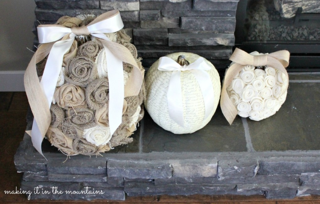 Shabby Chic Pumpkins from Making It in the Mountains  |  25 Creative DIY Pumpkins at www.andersonandgrant.com