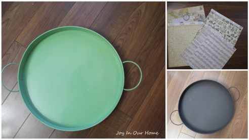 Coffee Table Tray Makeover: My $1 Garage Sale Find at www.joyinourhome.com