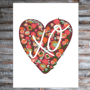 Free Floral Heart Printable from Brepurposed