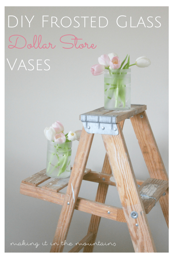 DIY Frosted Glass Dollar Store Vases