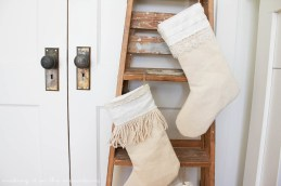 These lovely Farmhouse Style Christmas Stockings are not only adorable, but you won't believe how simple they were to whip up!