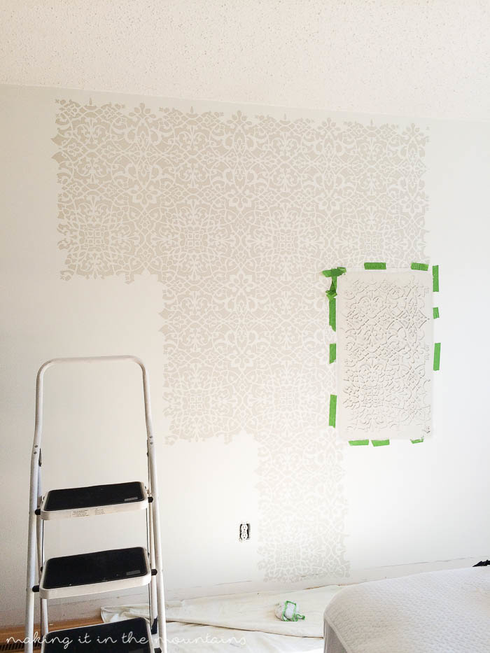 Have you been dying to try painting a stencilled wall, but it just seems like SO much work? Then, my friend, you won't want to miss this!