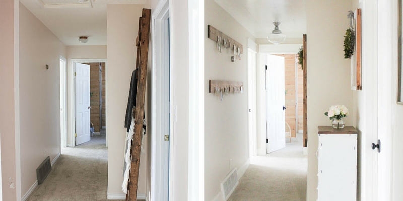 Easy ways to add some charm and character to create a beautiful farmhouse style hallway space.