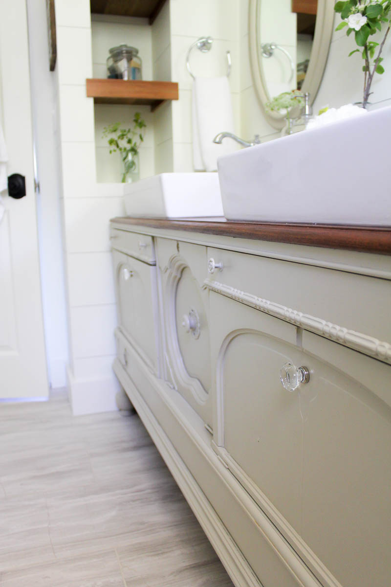 How to Transform a Vintage Buffet into a DIY Bathroom Vanity | www.makingitinthemountains.com