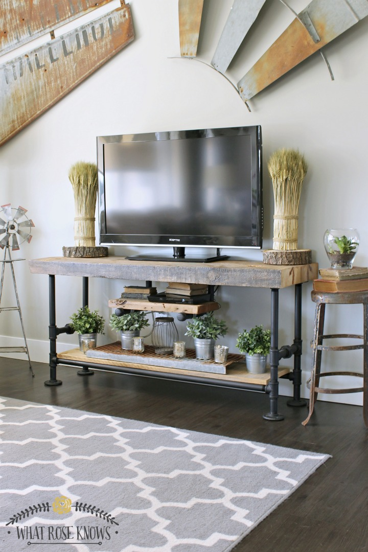 Reclaimed Wood and Pipe TV Stand