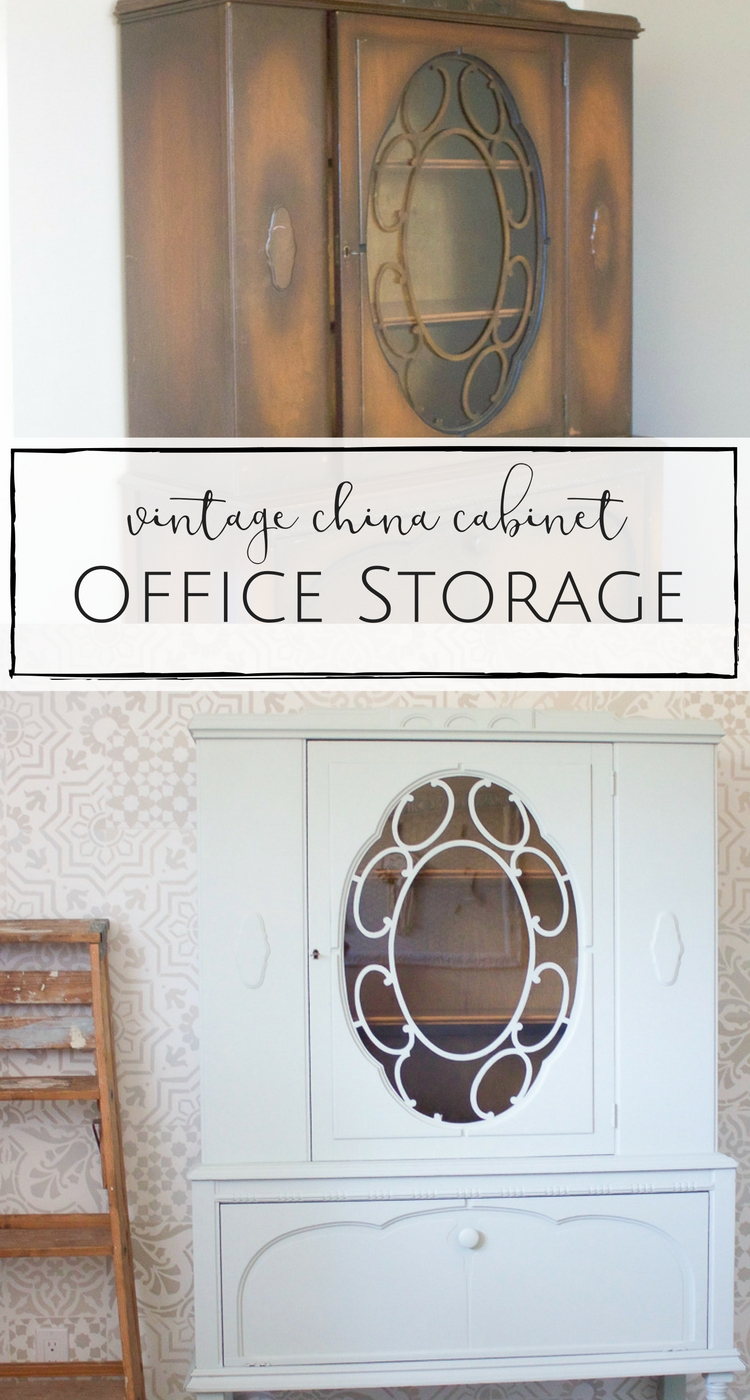 This gorgeous vintage cabinet was the perfect way to add some farmhouse style office storage that is both practical and beautiful! | www.makingitinthemountains.com