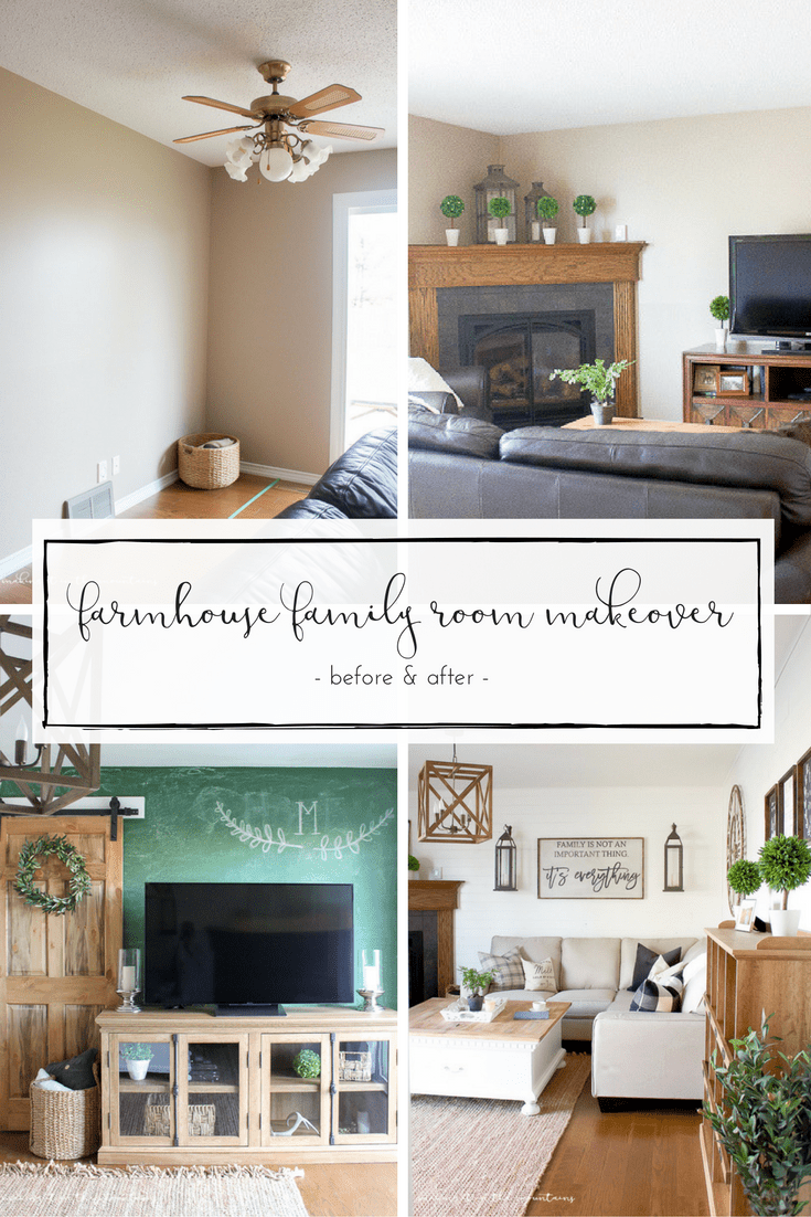 How we created the farmhouse style family room of our dreams in just six weeks! www.makingitinthemountains.com