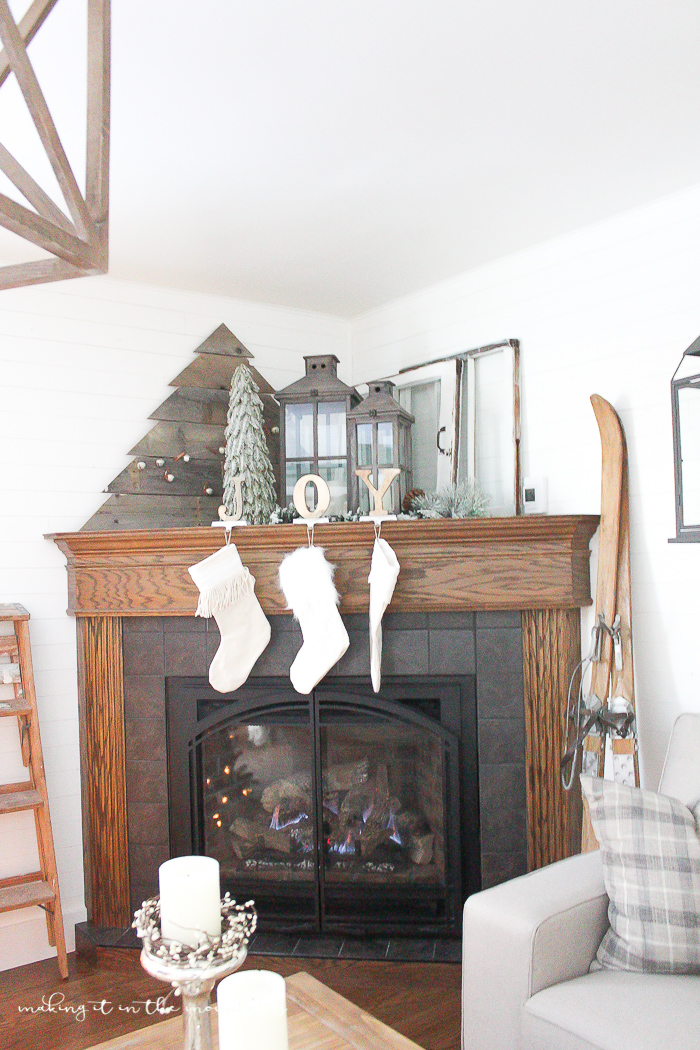 How to Decorate a Corner Fireplace Mantel for the Holidays - making it in the mountains