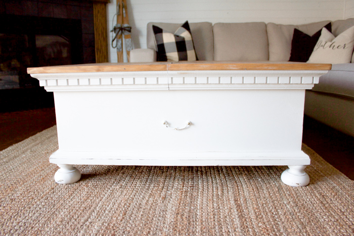 Bring some charm and character to your living room space with this light and bright farmhouse coffee table makeover.