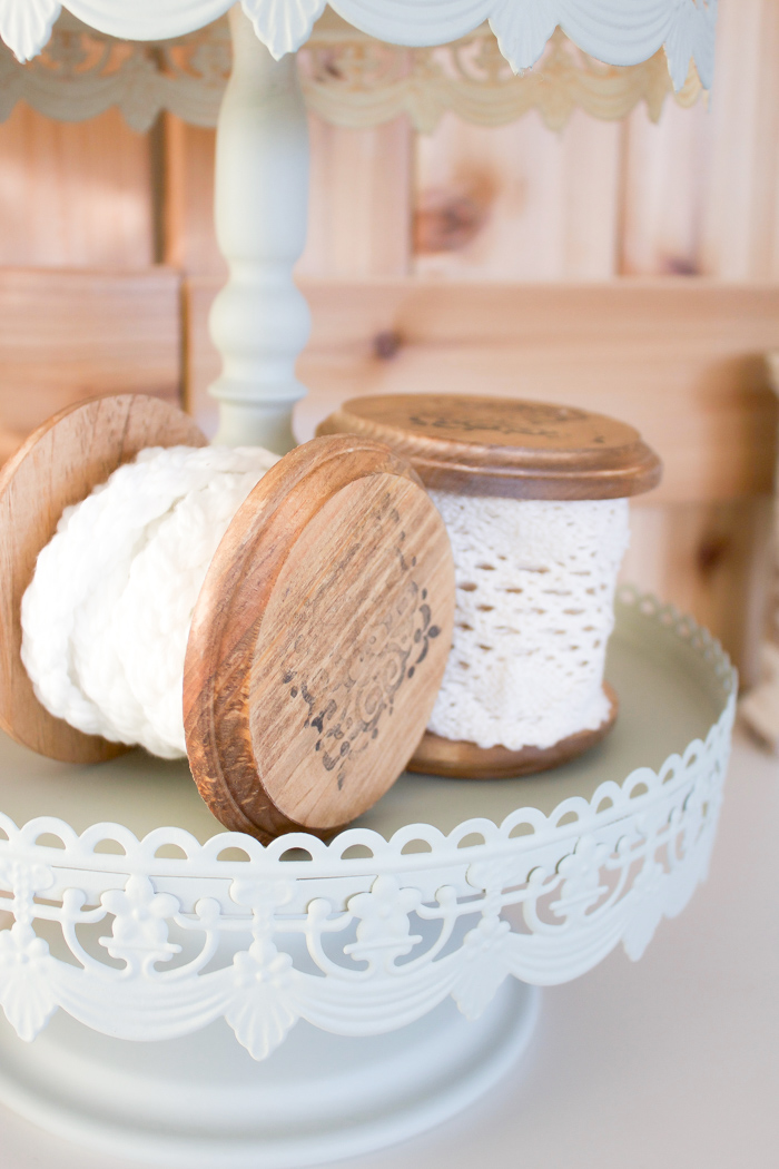 This vintage wooden spool is such a lovely way to store and display those pretty ribbons you've collected over the years.