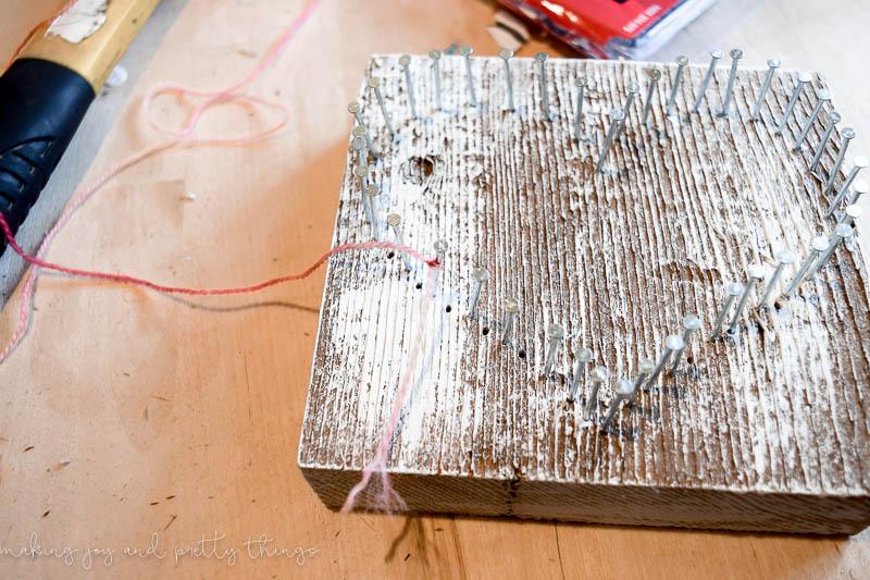 Rustic Barn Wood String Art Heart | string art ideas | string art DIY