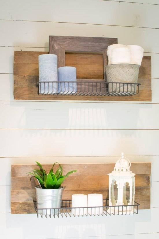 DIY Wooden Industrial Bathroom Shelves