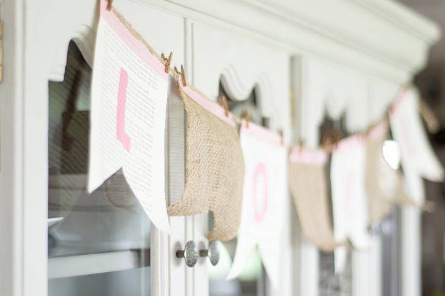 A Sweet + Simple Burlap and Book Page Banner