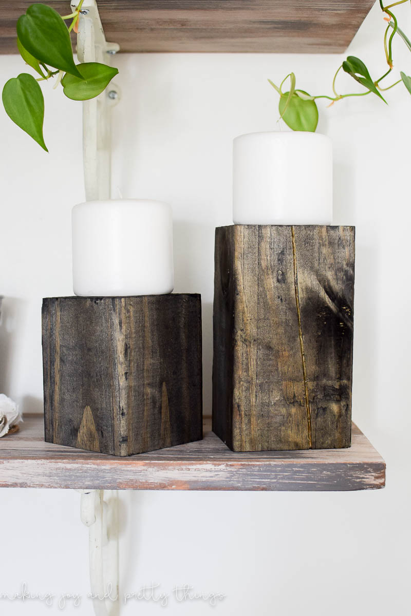 learn how to make the easiest wooden candle holders in an afternoon