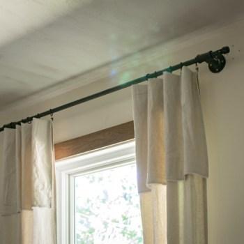 DIY lace drop cloth curtains