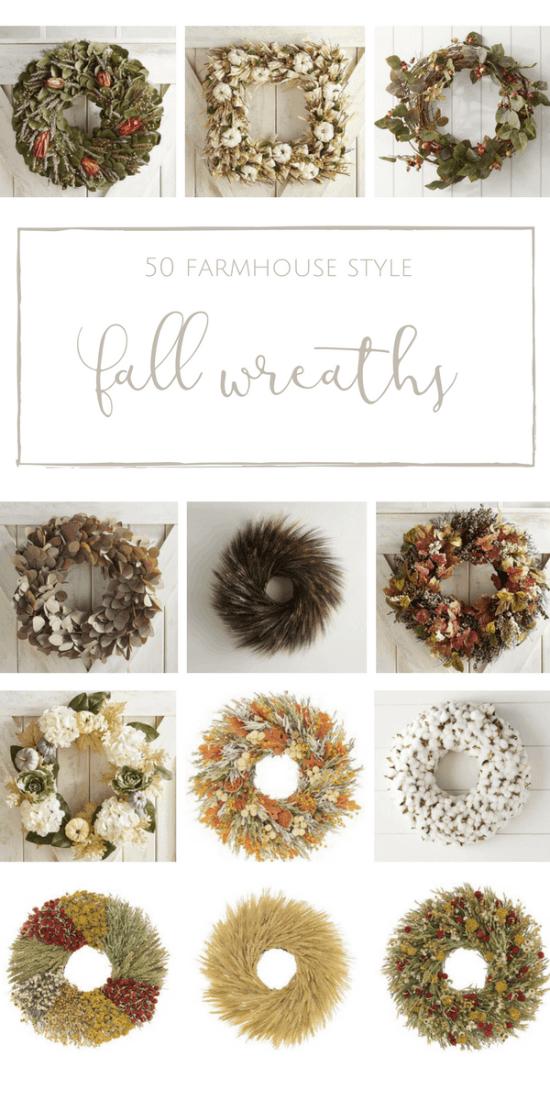 50 Beautiful + Welcoming Fall Wreaths with Farmhouse Style | www.makingitinthemountains.com