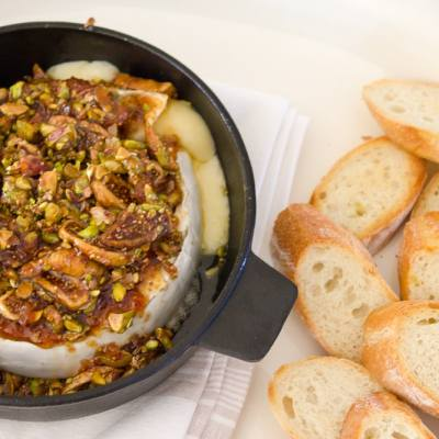 Quick + Easy Fig & Pistachio Baked Brie