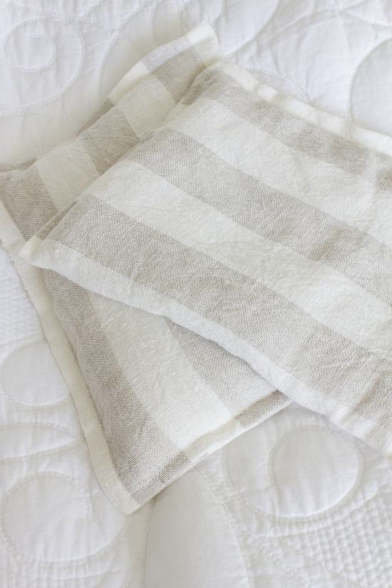 striped linen rice bag