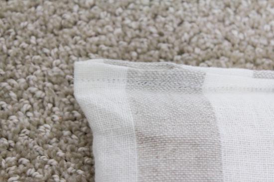 striped linen fabric, stitches