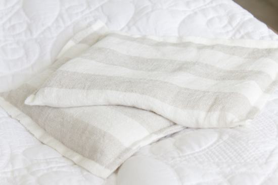 striped linen rice bag