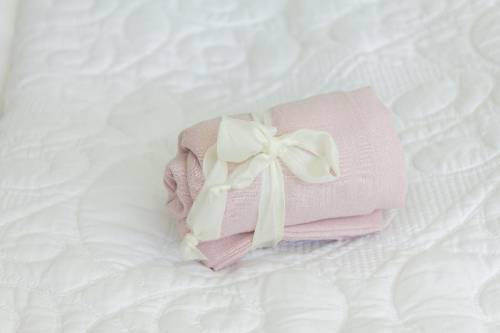 rolled pink linen bag