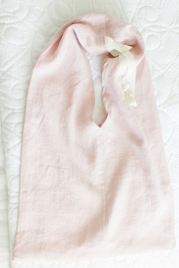 pink linen tote