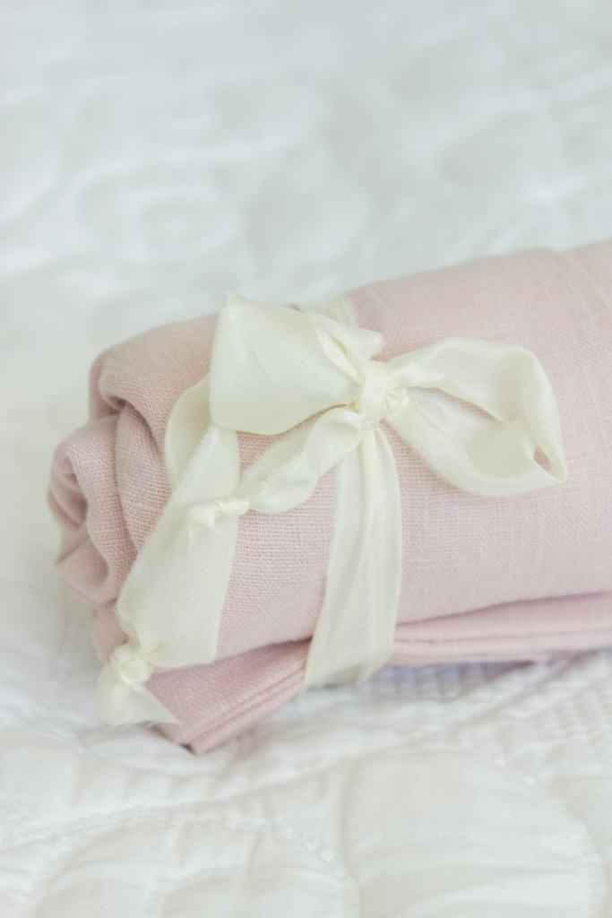 roll up pink linen bag