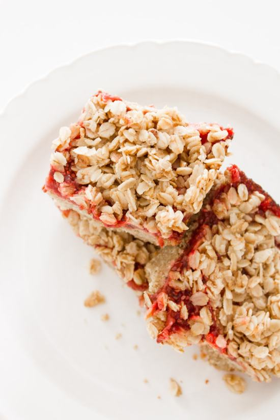 strawberry oatmeal bars stacked