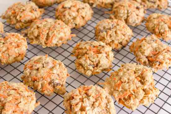 carrot cookies cooling on racks