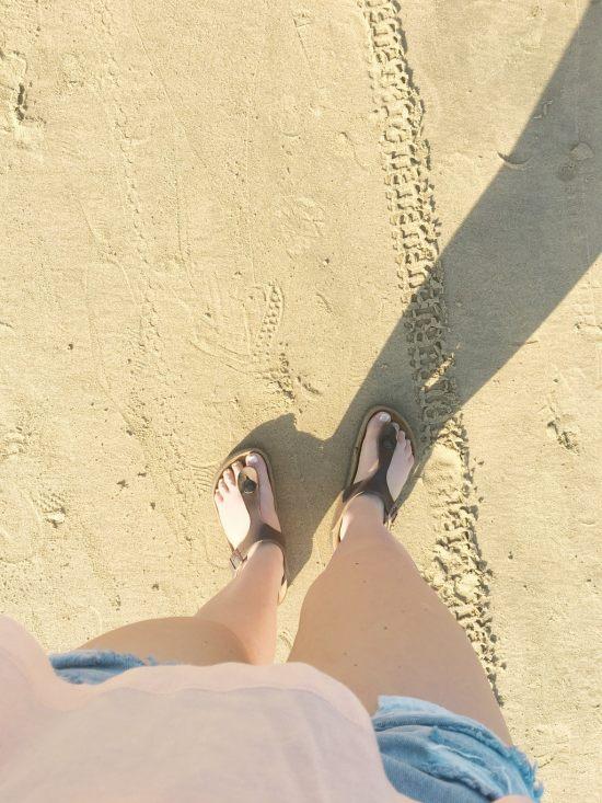 Birkenstocks, beach, sandals, sand