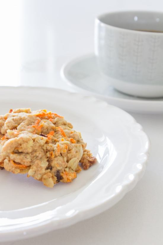 carrot cookies, white dishes
