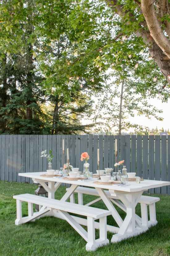 white table, diy table, outdoor dining