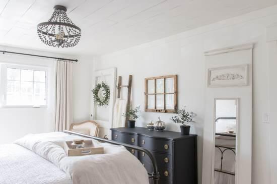 neutral bedroom, white bedroom, black dresser, vintage dresser, shiplap