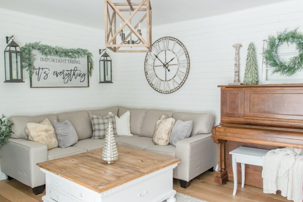 Cozy Neutral Farmhouse Christmas Living Room Tour Making