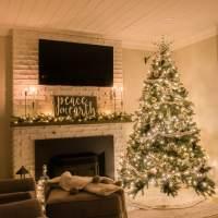 Cozy Farmhouse Christmas Home Tour at Night