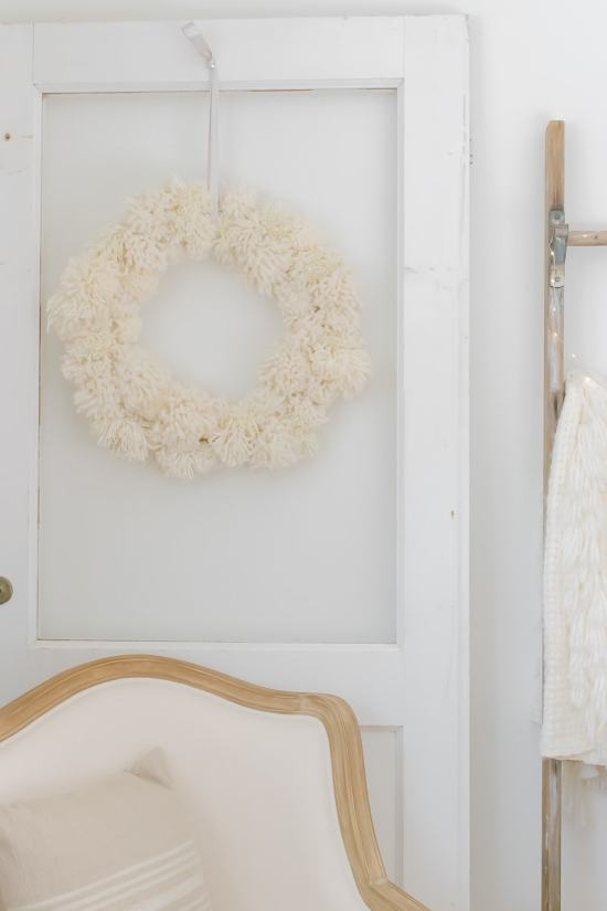 pom pom wreath, neutral decor, french country chair, linen chair