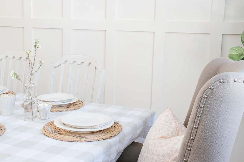 blush pink pillow, spring table