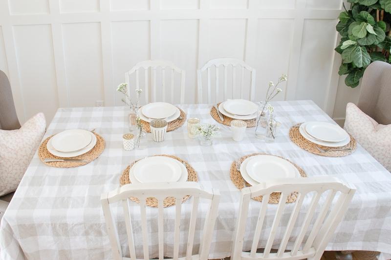 spring table setting, buffalo check, mercury candles