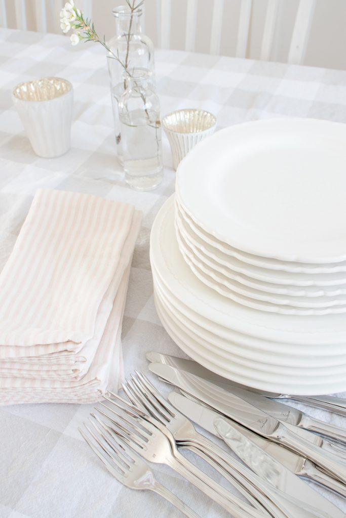 striped pink linen napkins, white dishes