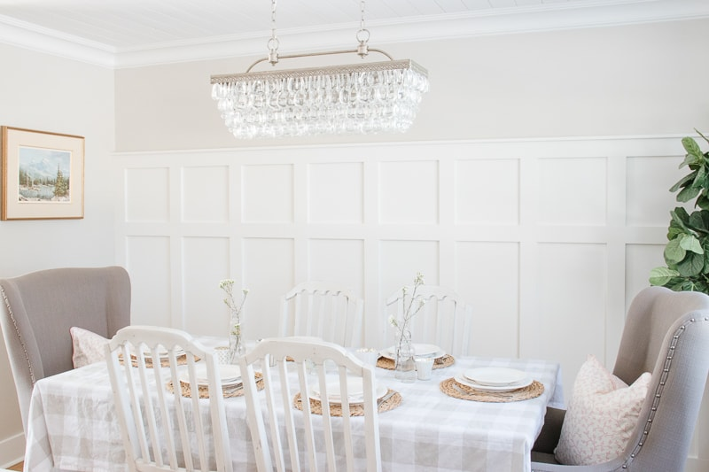buffalo check table cloth, board and batten wall, spring dining room