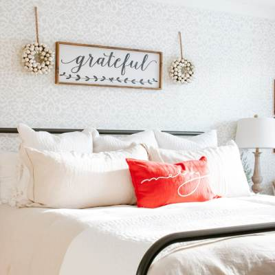 Cozy + Neutral Farmhouse Christmas Bedroom
