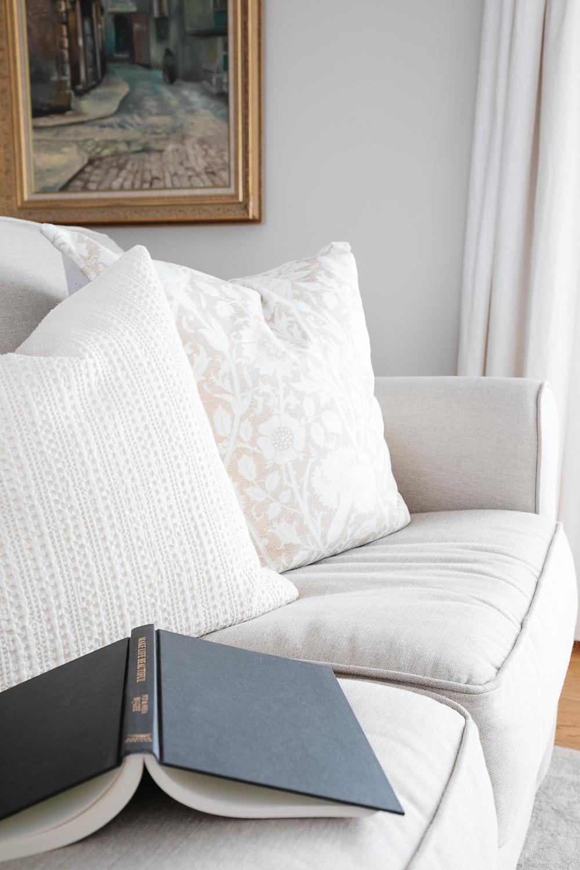book, pillows, sofa, vintage art