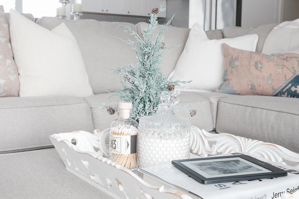 kobo, ereader, linen sofa, ottoman