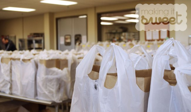 Bags being prepped for delivery