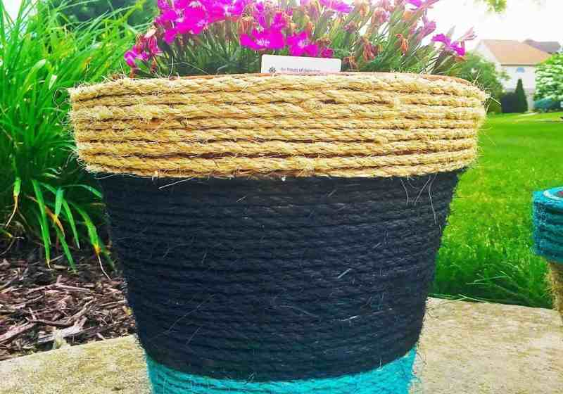 Rope Wrapped and Painted DIY Planters