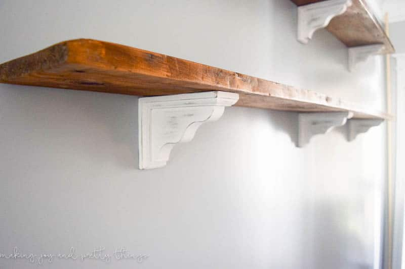 DIY Farmhouse Shelves for the Dining Room.  So easy to make your own fixer upper inspired shelves using reclaimed wood